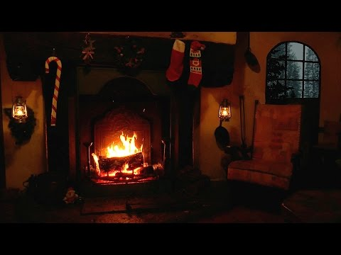 Christmas Scene: Burning Yule Log with Crackling Fire and Snow Storm Sounds