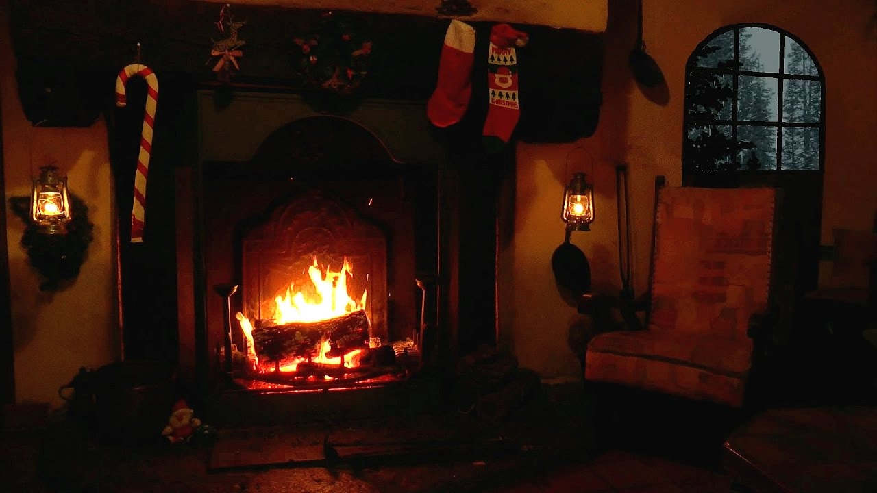 Christmas Scene Burning Yule Log With Crackling Fire And Snow - Christmas cabin fireplace scenes