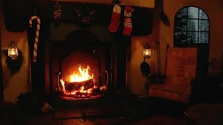 Magical Christmas Fireplace with Crackling Fire and Snow Storm Sounds