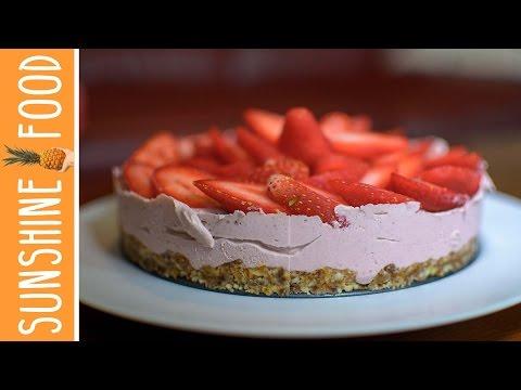 cheesecake-à-la-fraise⎪recette-vegan-raw