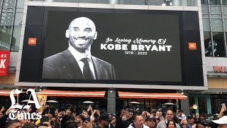 Fans mourn Kobe Bryant at Staples Center