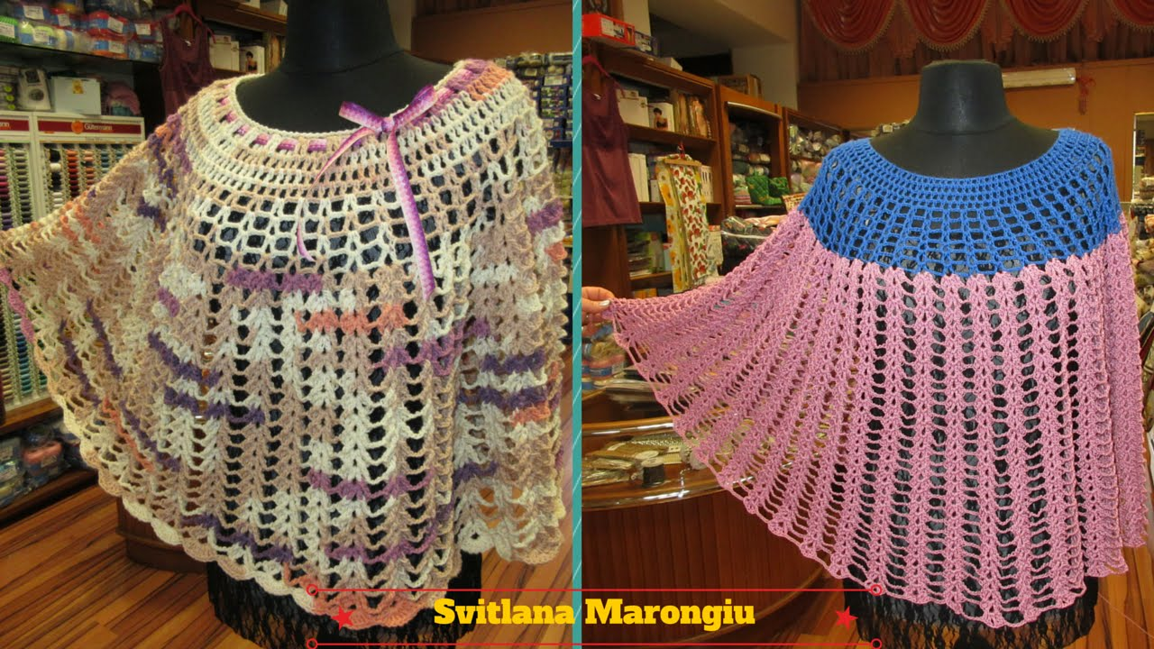 Tutorial mantella traforata in cotone e in lana all 39 uncinetto youtube - Piastrelle di lana all uncinetto ...