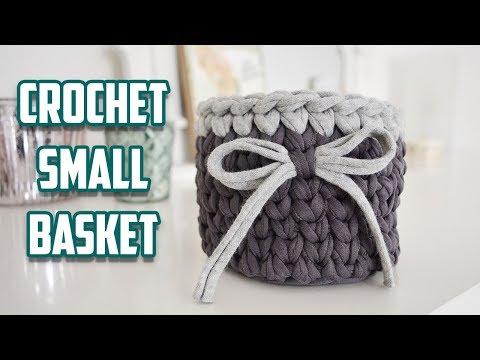 MINI CROCHET BASKET WITH T-SHIRT YARN | CJ Design ♡