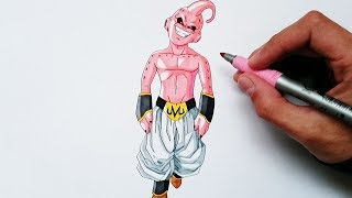 Cómo dibujar a Kid Buu explicado paso a paso - How to draw Kid Buu