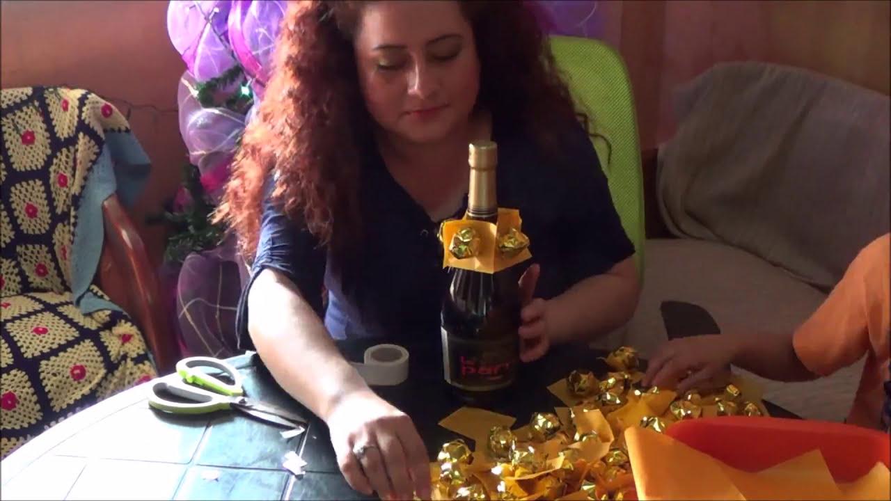 Como decorar una champagne en forma de pi a y con bombones facil youtube - Como decorar una lapida ...