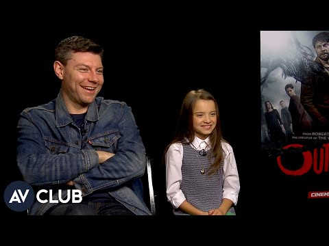 Outcast's Patrick Fugit and Madeleine McGraw try to scare the crap out of each other on set