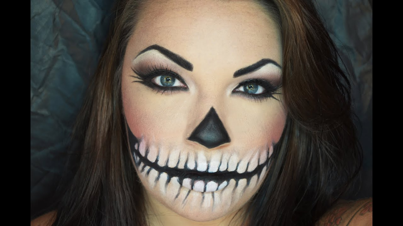calavera skull halloween makeup turorial easy youtube