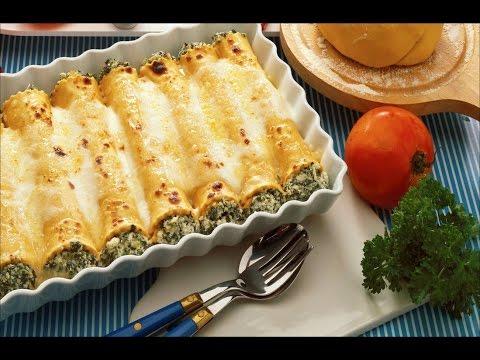 Каннеллони со шпинатом и кукурузой/Простой способ приготовления/Фаршированные макароны