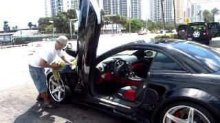 Ice T Car Porn:'The Black Monster' Custom Wide Body Reintech SL55R at Miami car wash