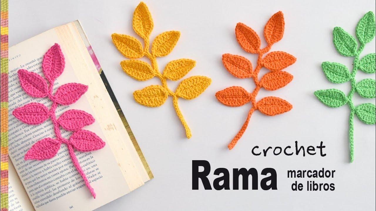 Rama con hojas marcador de libros tejida a crochet - Tejiendo Perú ...