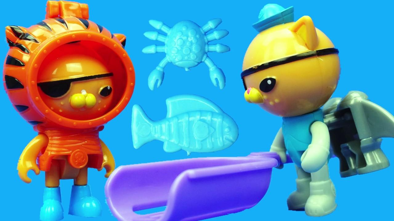 海底小縱隊的靈活變裝玩具。海底探險隊裏的呱唧去抓魚 - YouTube