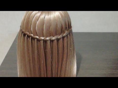 Показываю плетение косы - перо. Или водопад..