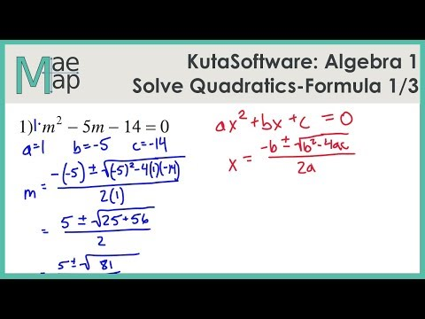 KutaSoftware Algebra 1 Using Quadratic Formula Part 1