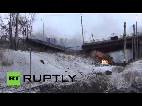 Ukraine: Aftermath of tank battle, Putilovsky bridge destroyed