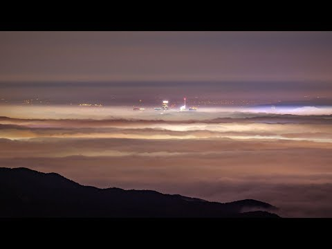 Ocean of Fog covers Los Angeles (Zoom from Malibu to DTLA)