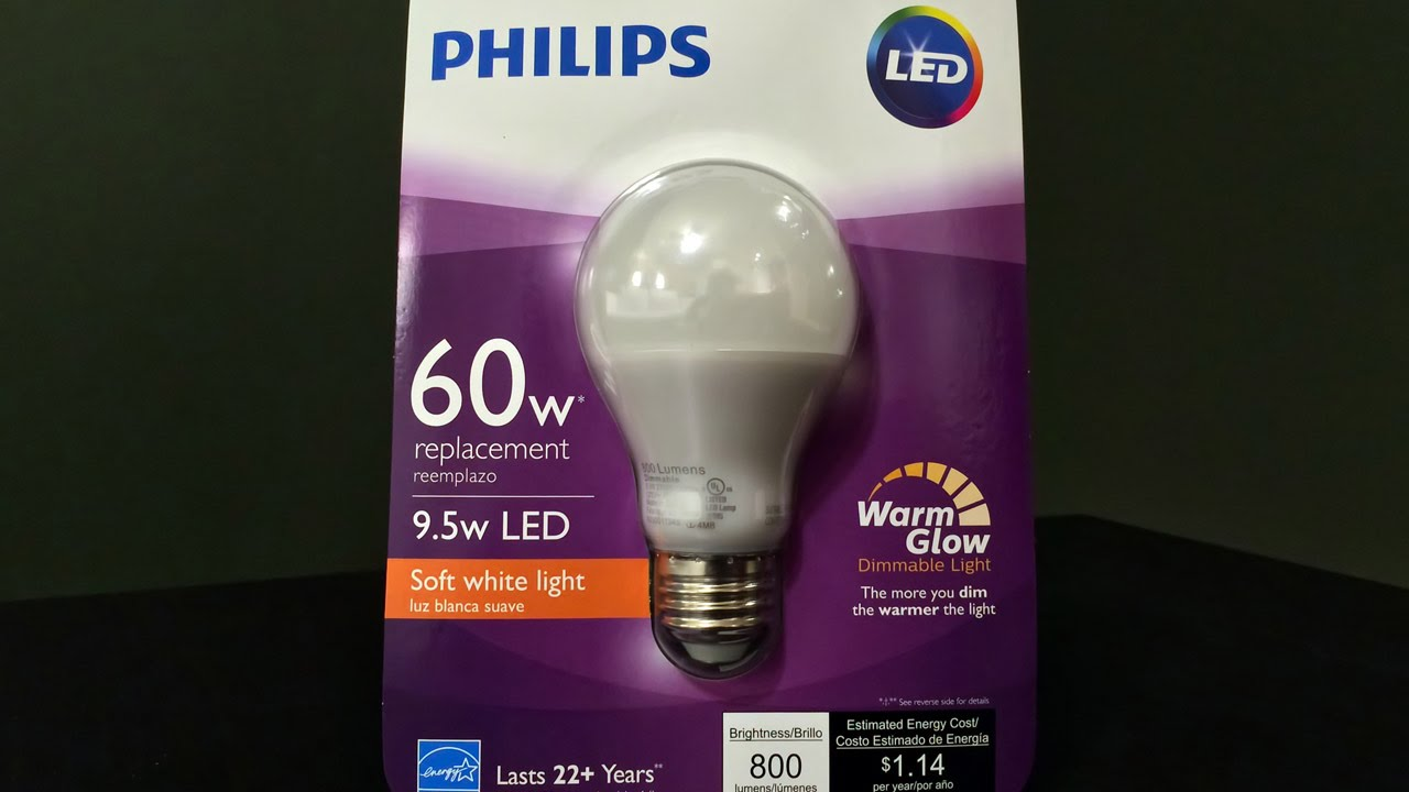 Quick Review Philips 60 Watt Equivalent Soft White Led Light Bulb With Warm Glow Dimming Youtube