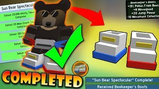 COMPLETING *SUN BEAR* QUESTS (*BEEKEEPER'S BOOTS*) !! - Roblox Bee swarm simulator