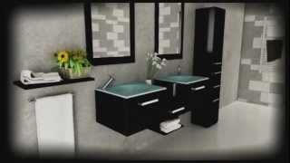 58 Estrella Double Vessel Sink Modern Bathroom Vanity Furniture Set