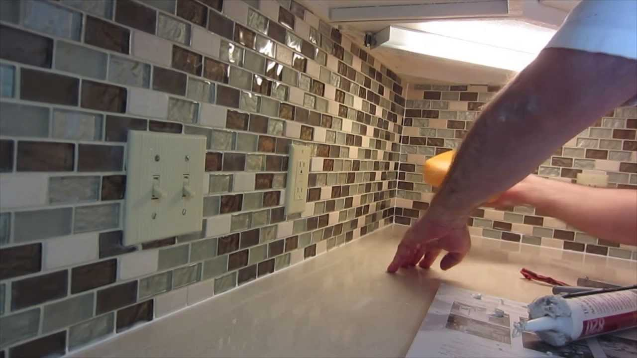how to install glass mosaic tile backsplash part 3 grouting the tile youtube - Glass Tiles For Backsplash