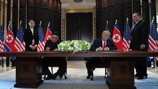 Donald Trump y Kim Jong-un firmaron un documento de entendimiento en Singapur