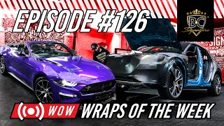 "AUDI E-TRON ""First Edition"" gestripped en gewrapped en een Ford Mustang in GLOSS PLUM Explosion"