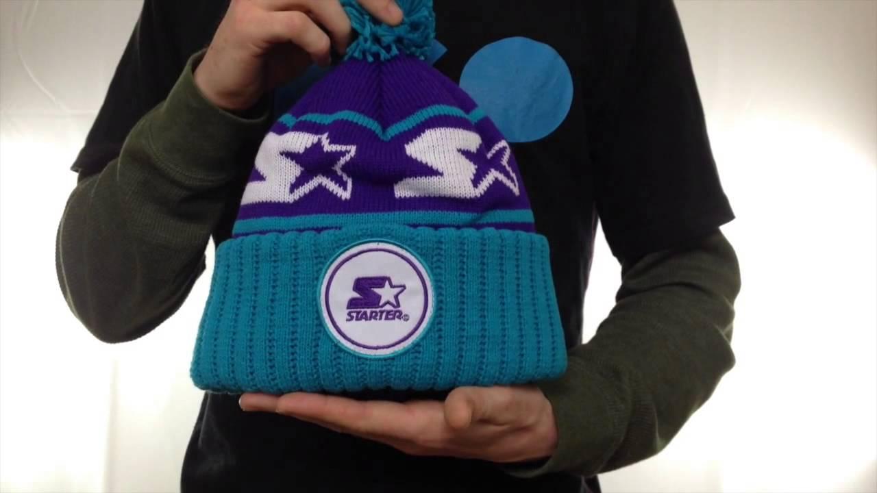 97d8b98cb85836 Starter S-STAR CLASSIC BOBBLE Purple-Teal Knit Beanie Hat