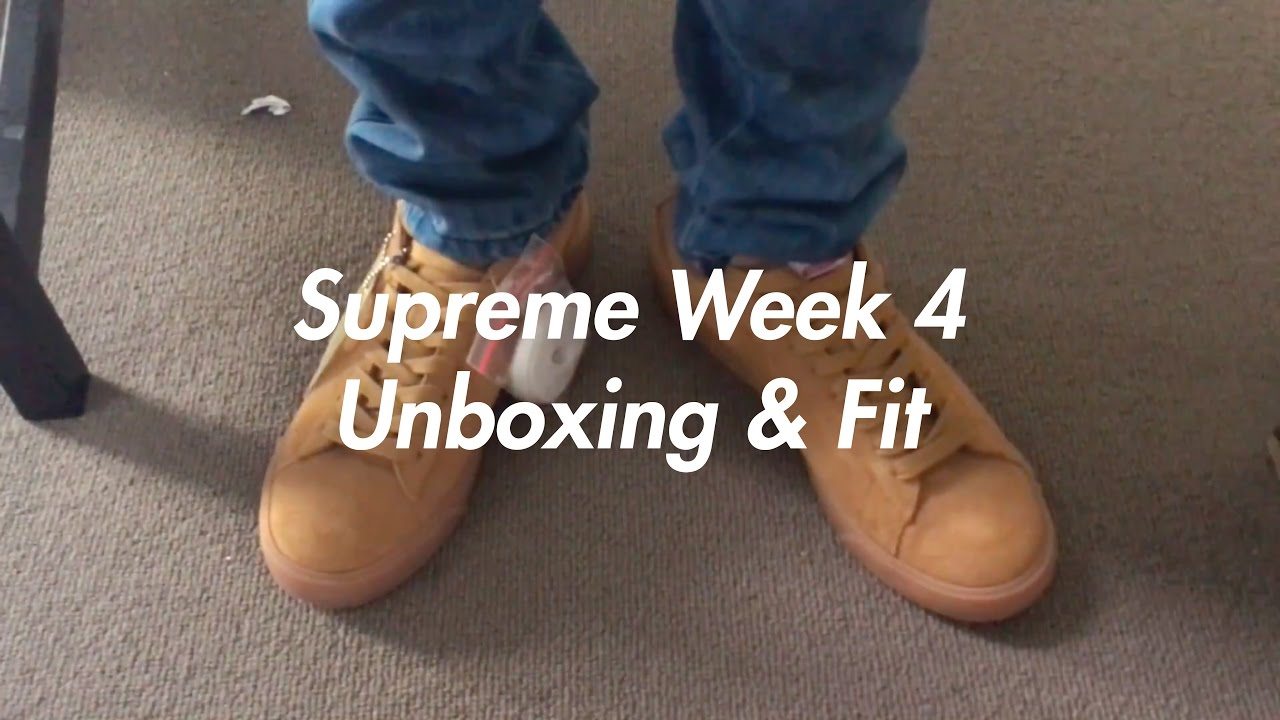Supreme Unboxing & On Foot (Week 4 FW16) Supreme x Nike SB Blazer Low Tan -  YouTube