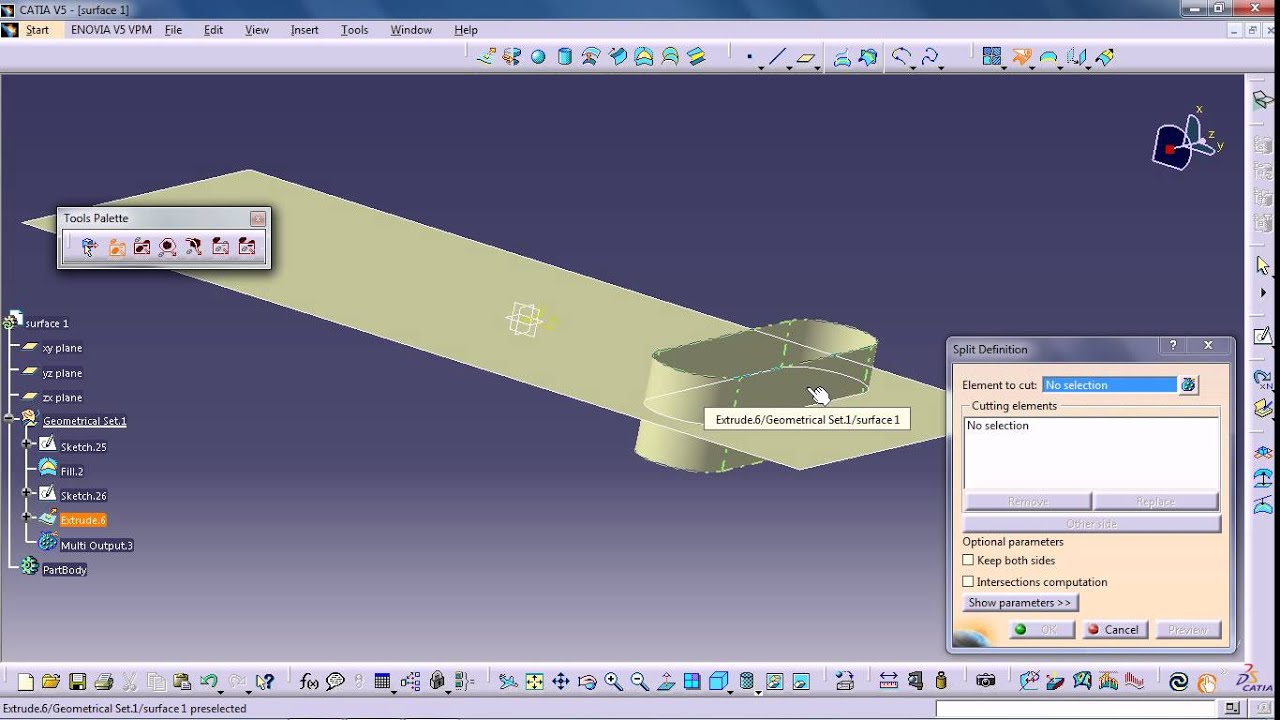 Download Free CATIA V5 Tutorial / Lecture on Modifying Surfaces by TTRC