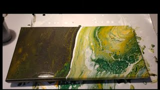 Opposing corner flip cup Acrylic Pour Green Bay Packer Pour