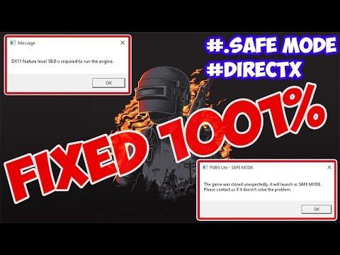 PUBG LITE INDIA FIX- Safe MODE Error | Directx ERROR require Feature Level 10.1 | With Proof