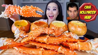 KING CRAB LEGS DIPPED IN CHEESY CHEDDAR BREAD BOWLS MUKBANG | Eating Show