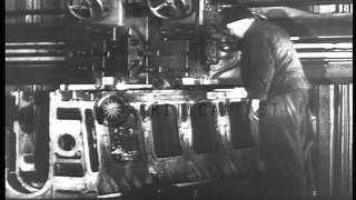 Men work for the production of German 'U' boats in a factory in Germany. HD Stock Footage