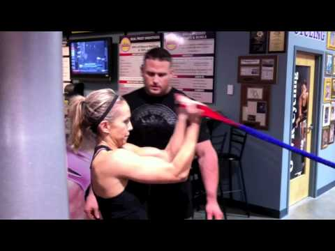 women fitness training workout for triceps biceps and