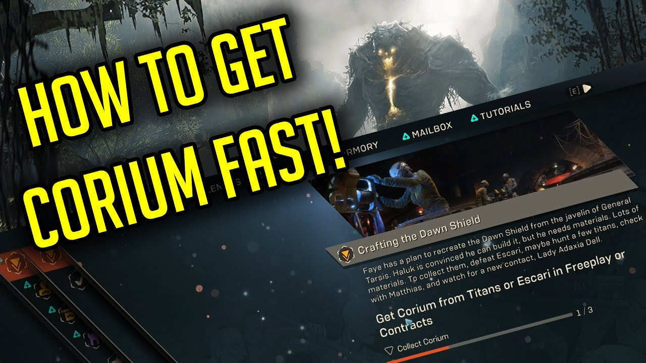 How to get Corium FAST in Anthem for the Crafting the Dawn Shield Quest!