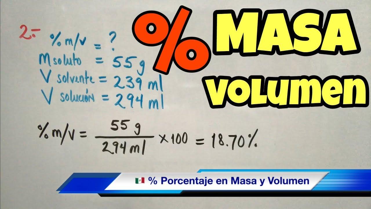 Porcentaje MASA-VOLUMEN (m/m) en Solución - YouTube