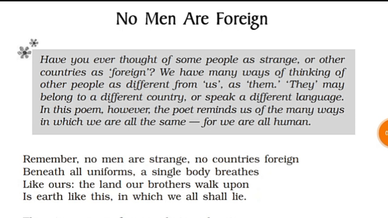 Ncert Class 9 English Beehive No Men Are Foreign Poem Hindi