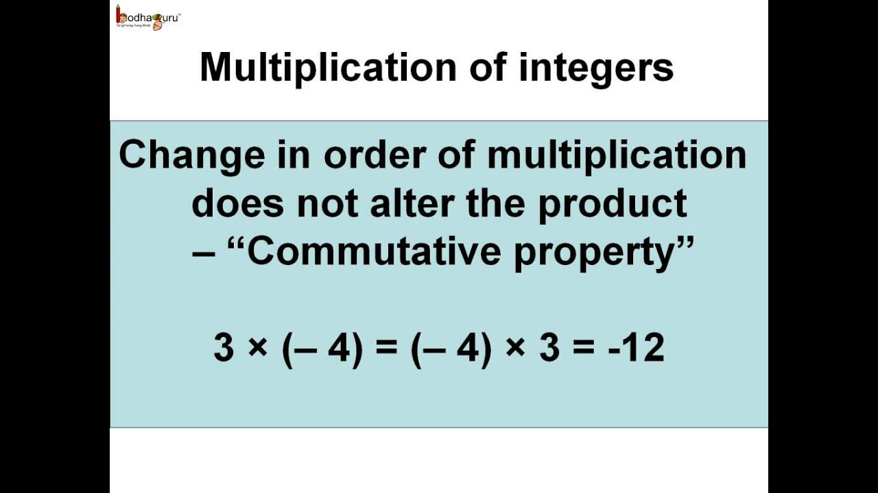 Math - Integers - Closure and commutative property of multiplication -  English