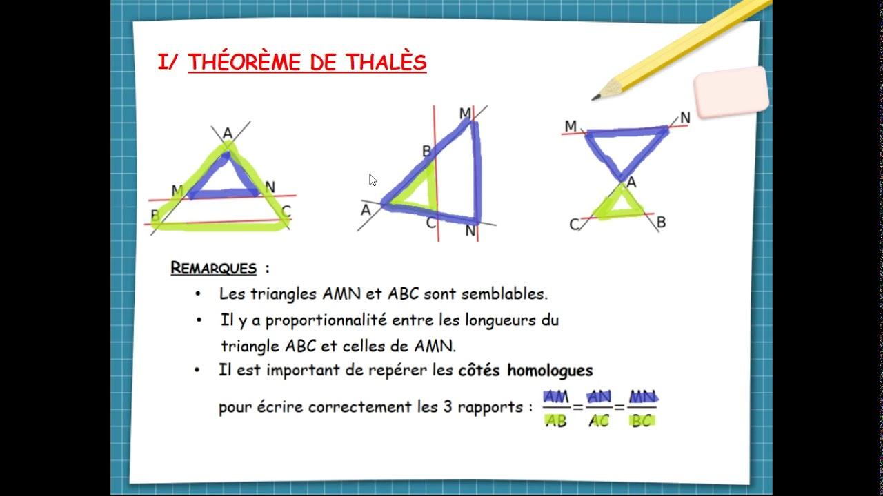 Théorème de Thalès - YouTube