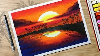How to Draw Beautiful Sunset Scenery with Oil Pastels for beginner Step by Step