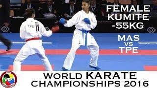 BRONZE. Female Kumite -55kg. SALNI (MAS) vs WEN (TPE). 2016 World Karate Championships