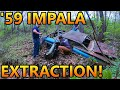We Pulled A 1959 Impala 2dr Hardtop Out Of A Ravine! Sitting Since The Early 1970s! (old Car Rescue)