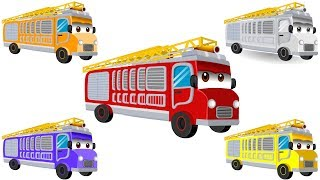 Wrong Colors & Wheel tires w Fire Truck for Kids & Street Vehicles for Children to learn colors