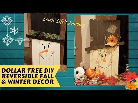 Dollar Tree DIY Reversible Scarecrow & Winter Snowman | Fall & Christmas Decor