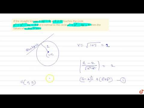 If The Straight Line `ax + By = 2 ; A, B!=0`, Touches The Circle `x^2 +y^2-2x = 3` And Is Norma...