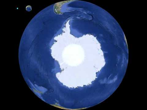 Planet Earth globe animation view from 90° South, Antarctica, rotation 360 degrees, Freeware