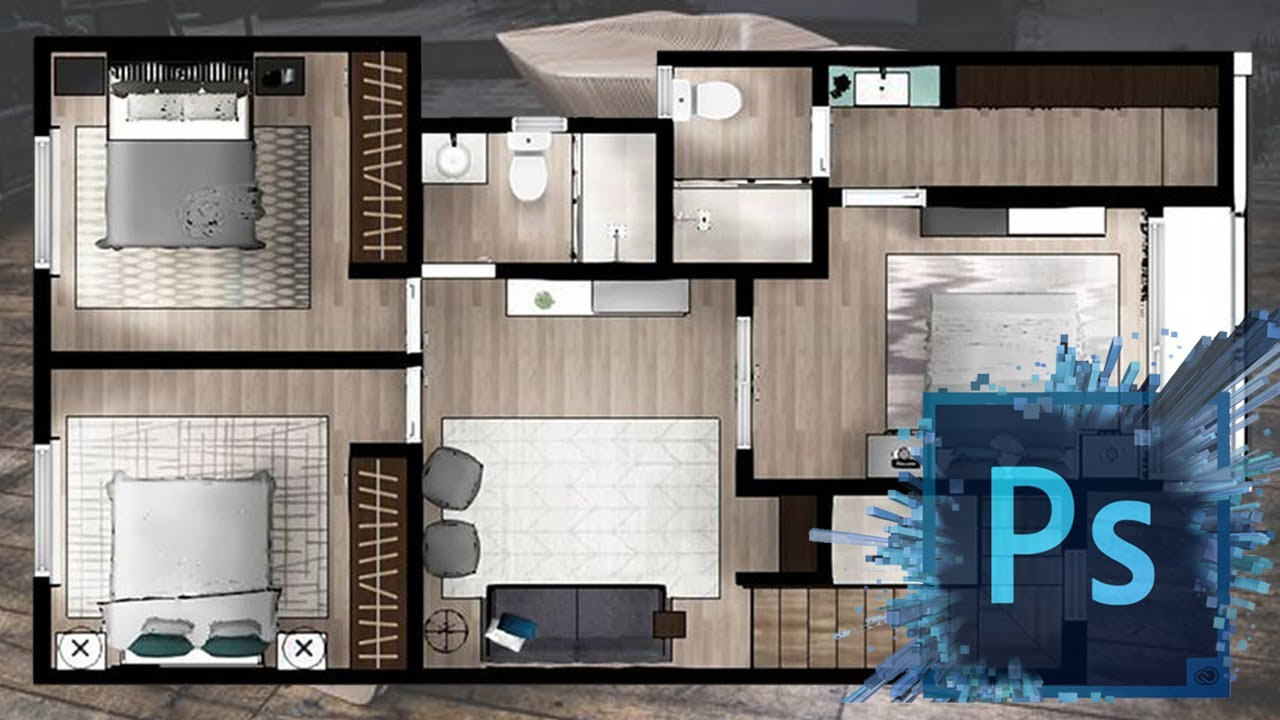 Architecture Plan Render By Photoshop Youtube
