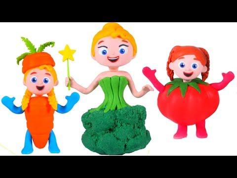 PRINCESSES WEARING TASTY VEGGIES DRESSES 鉂� SUPERHERO PLAY DOH CARTOONS FOR KIDS