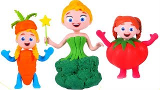 PRINCESSES WEARING TASTY VEGGIES DRESSES ❤ SUPERHERO PLAY DOH CARTOONS FOR KIDS