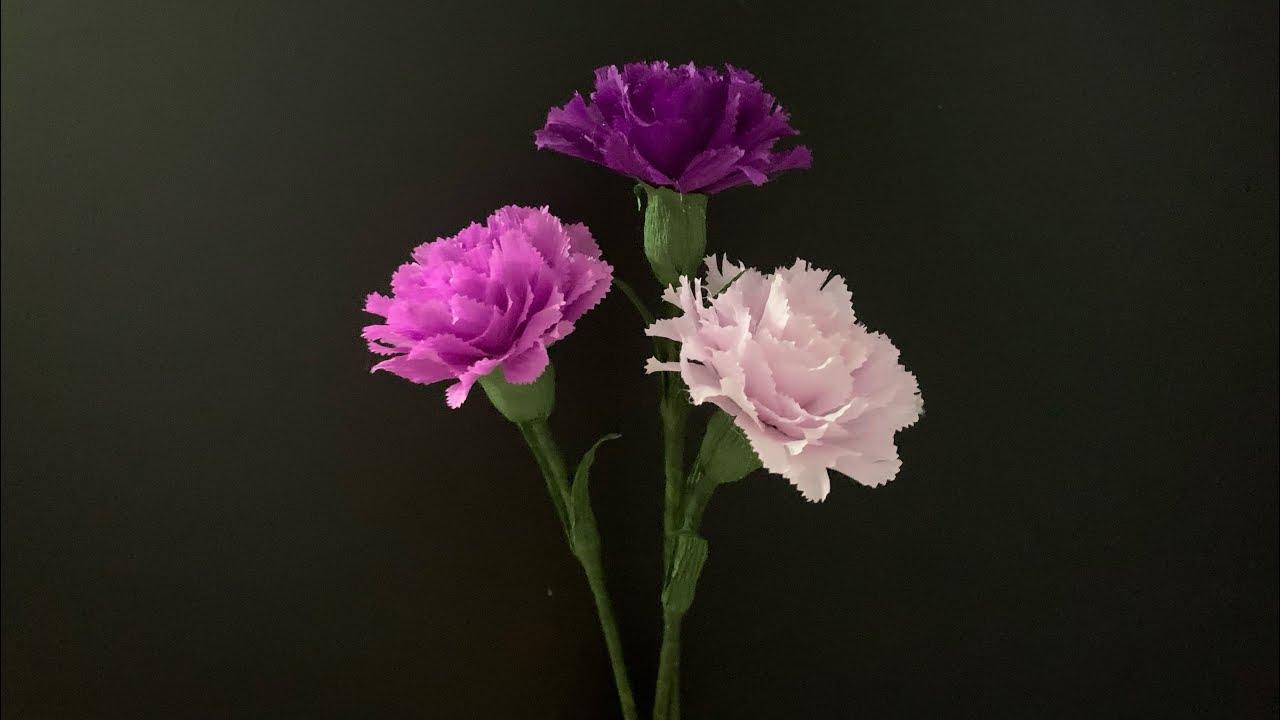 Bella's Craft/How to make carnation by crepe paper/ Hướng dẫn làm hoa cẩm chướng từ giấy nhún