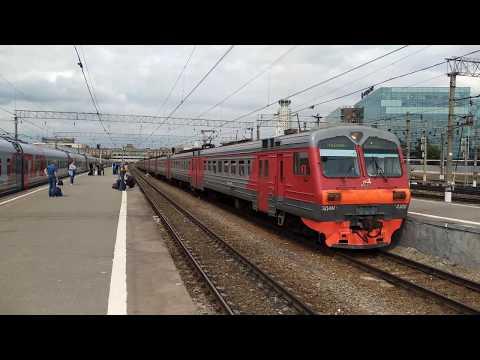 Электропоезд ЭД4М-0300, отправление с Павелецкого вокзала.